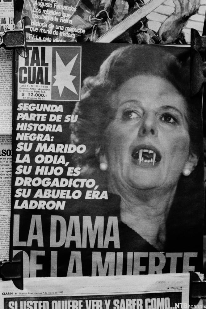 British Prime Minister Margaret Thatcher in cover of Argentine newspapers during the Falklands War