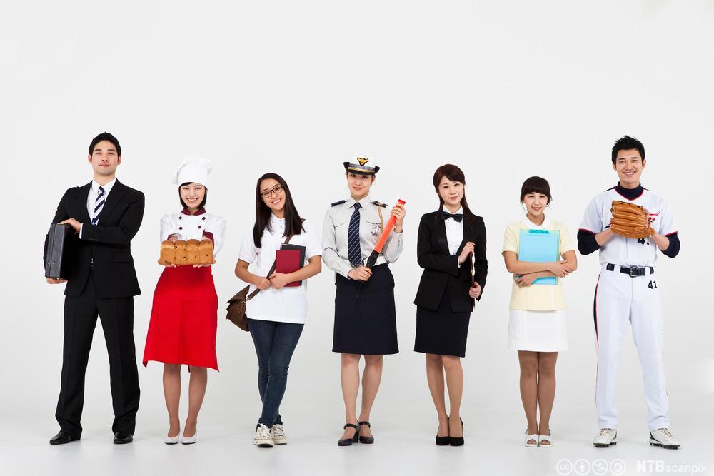 Folk med forskjellige yrker. Foto.