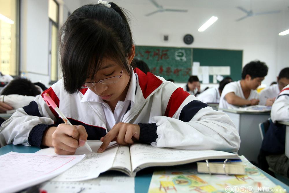 Kinesisk elev gjør oppgaver i klasserommet. Foto.