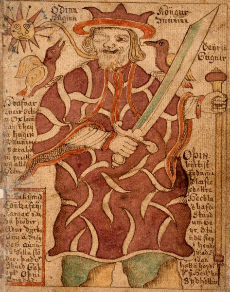 Odin på islandsk manuskript. Foto.