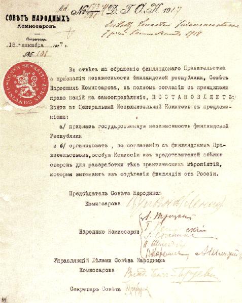 Dokument på russisk som viser at Lenins bolsjevikregime annerkjente Finlands selvstendighet i 1917. Foto.