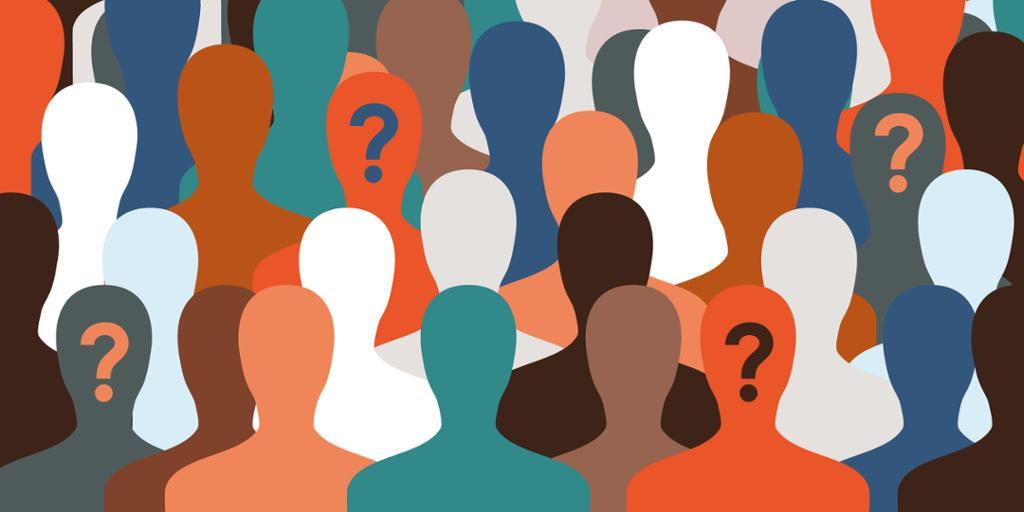 Illustrasjon av mange mennesker i gruppe. Foto.