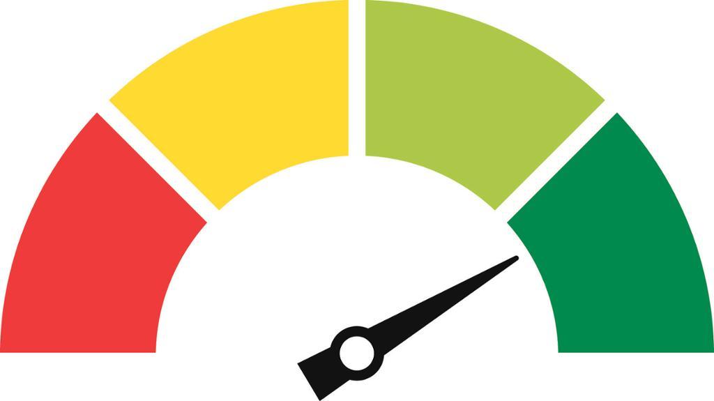 Speedometer peker mot grønt. Bilde