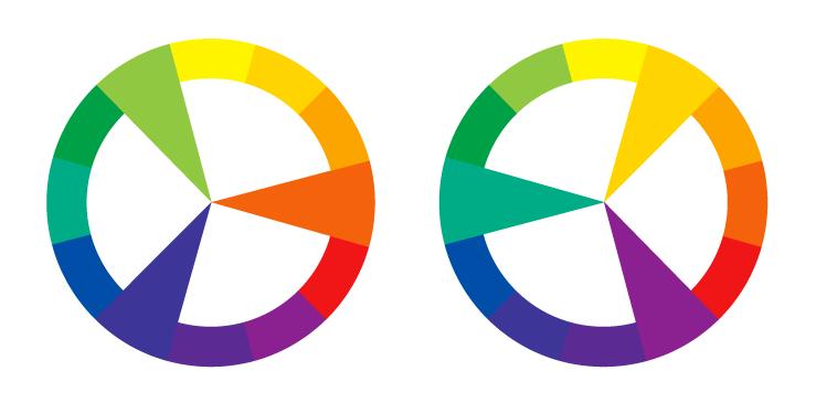 To fargesirkler der ulike treklanger framheves. Illustrasjon.