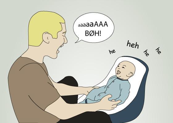 tegningen viser en voksen mann som prater med en baby