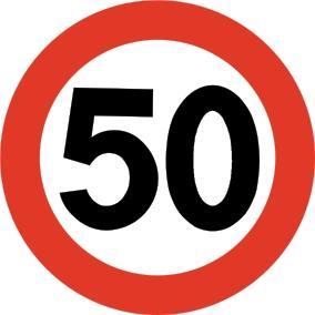 Skilt, fartsgrense 50 km/t. Foto.