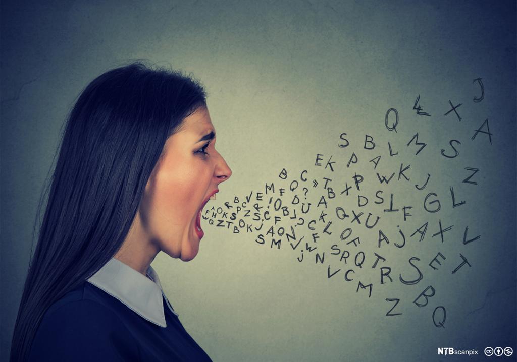 Mange bokstaver strømmer ut av munnen til ung kvinne- Manipulert fotografi.