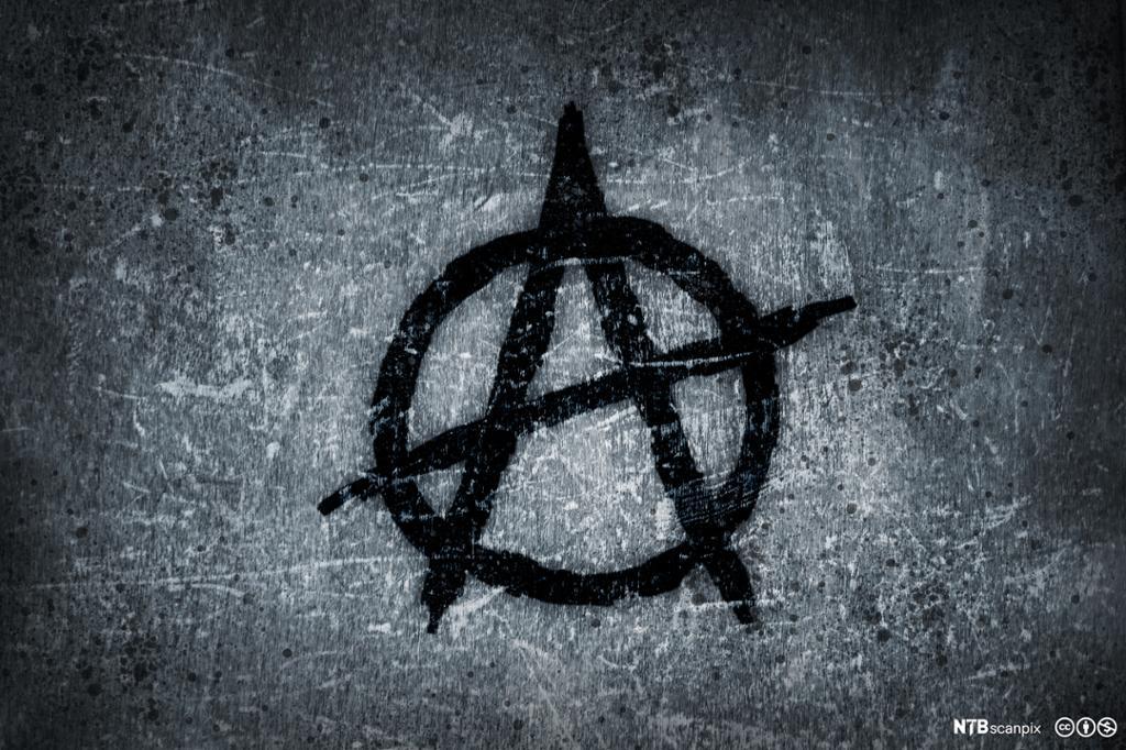 En A i en sirkel, symbolet for anarkisme. Illustrasjon.
