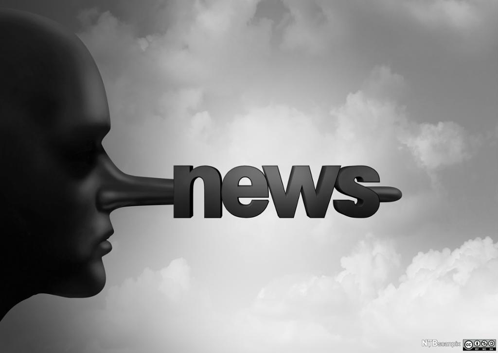 Person i profil med lang nese der ordet news er skrevet. Manipulert foto.