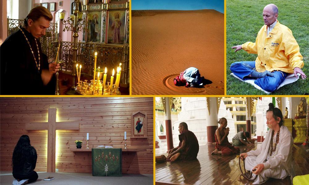 En collage av mennesker som ber i ulike religioner. Foto.