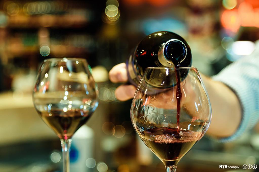 Ein bartendar heller vin i eit glas. Foto.