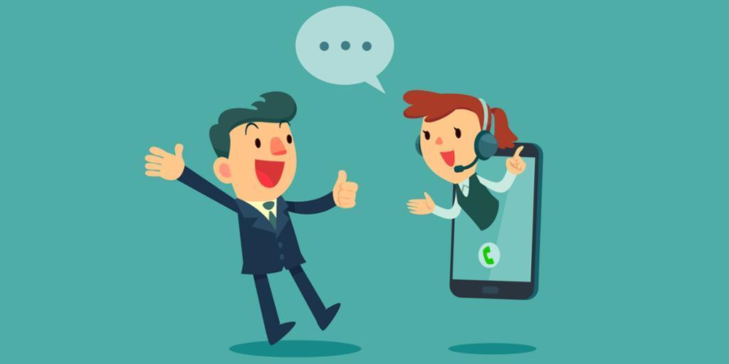 Illustrasjon av selger som kommer ut av en telefon og snakker med en kunde. Foto.