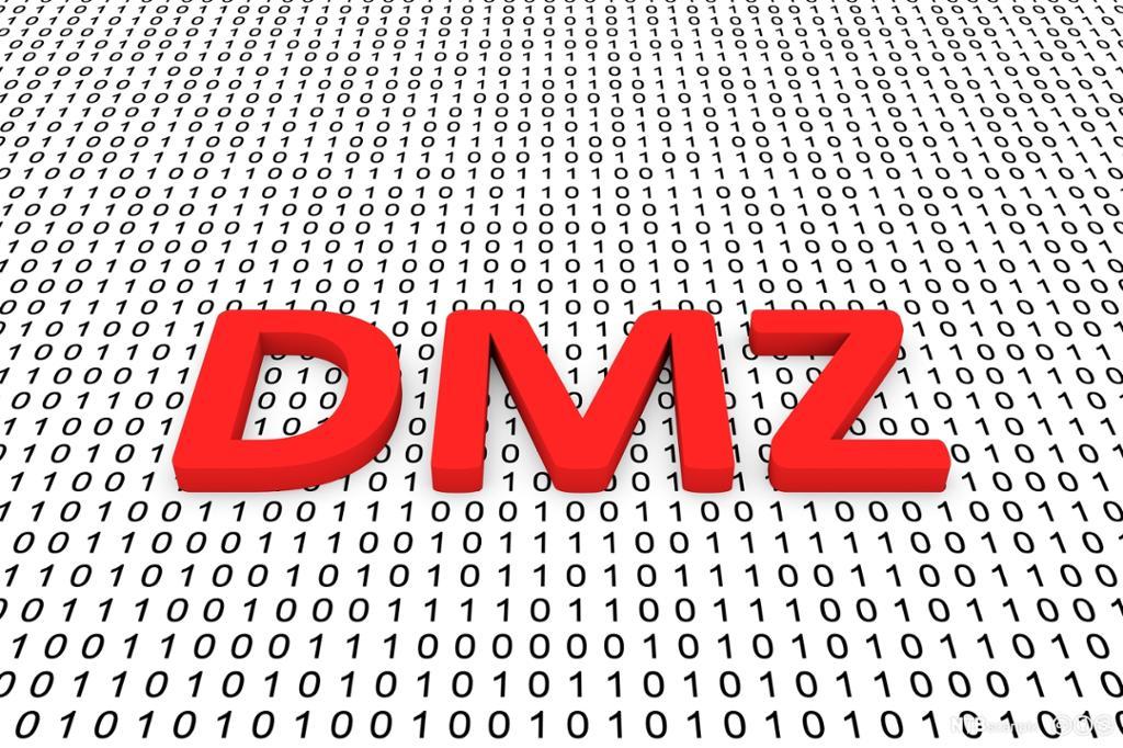 Teksten DMZ på en bakgrunn av binære tall. Bilde