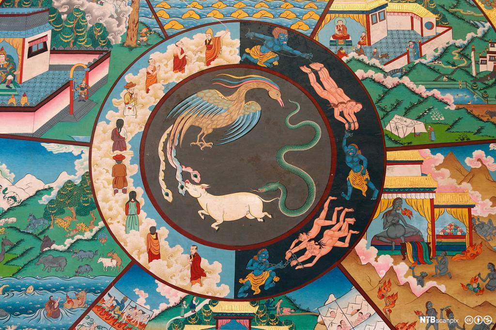 En fugl, en slange og en gris biter hverandre i halen og danner en sirkel. Rundt dem er det en sirkel som er delt i en mørk og en lys del. I den mørke delen blir mennesker i lenker dratt og jaget av blå demoner. Den lyse delen viser mennesker på en sky. Utenfor ringen ser man deler av andre motiver. Maleri.