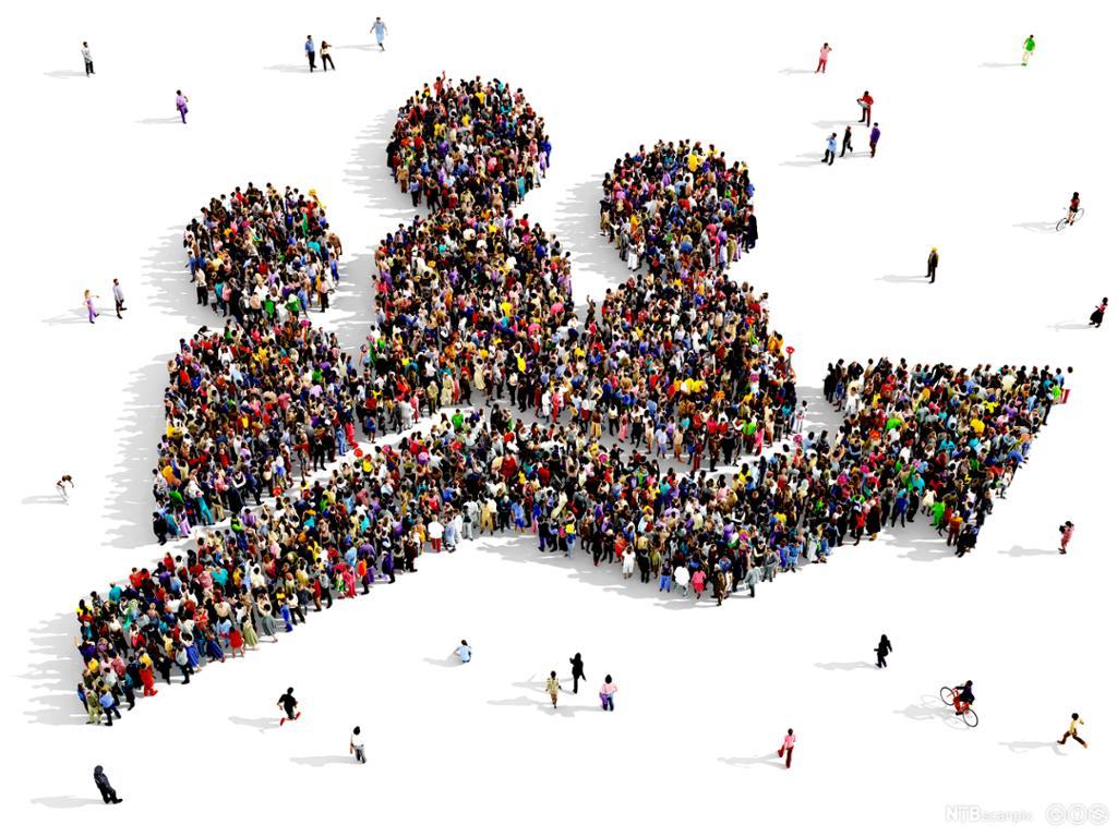 Mennesker plassert slik at de danner en kurve. Illustrasjon