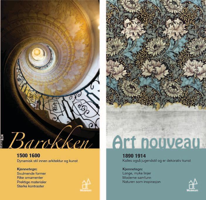 To bannere som viser kjennetegn på barokken og art nouveau gjennom bildebruk og utforming av tekst. Grafisk design.