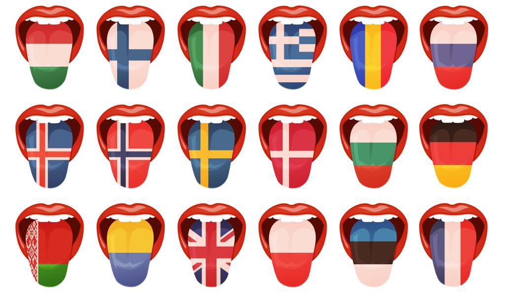 Mange tunger med bilder av forskjellige flagg. Illustrasjon.