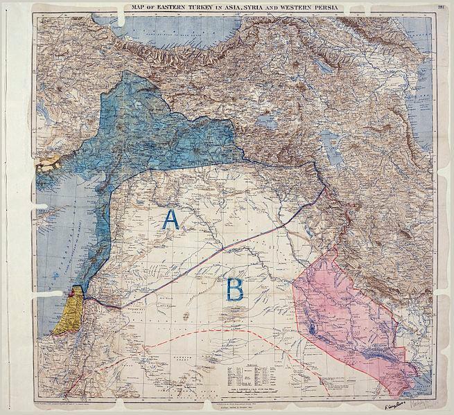 Kart over de arabiske områdene som viser oppdelingen mellom britiske og franske interesser i henhold til Sykes-Picot-avtalen. Kartet er signert Sykes og Picot. Områdene markert med A var franske interesseområder, områdene markert med B var britiske interesseområder. Foto av kart.