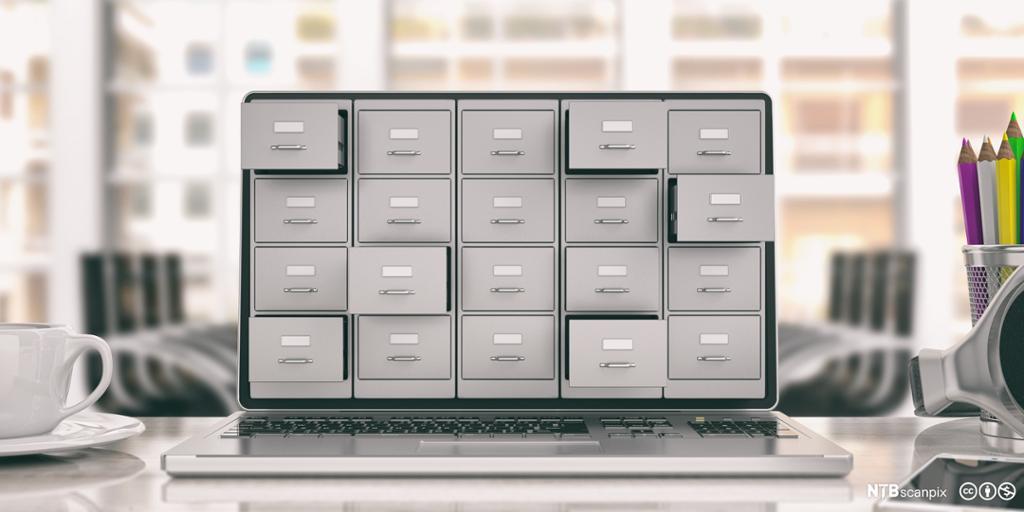 Arkivskuffer som stikker ut av skjermen på en bærbar PC-skjerm. Illustrasjon.