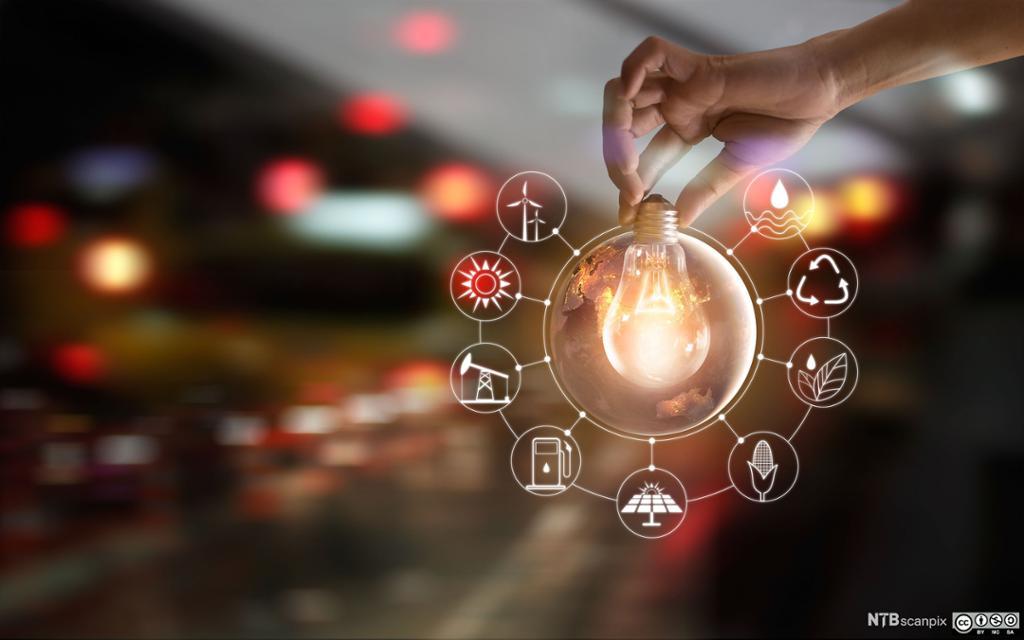 Hånd holder en lyspære omkranset av energi-ikoner. Foto.