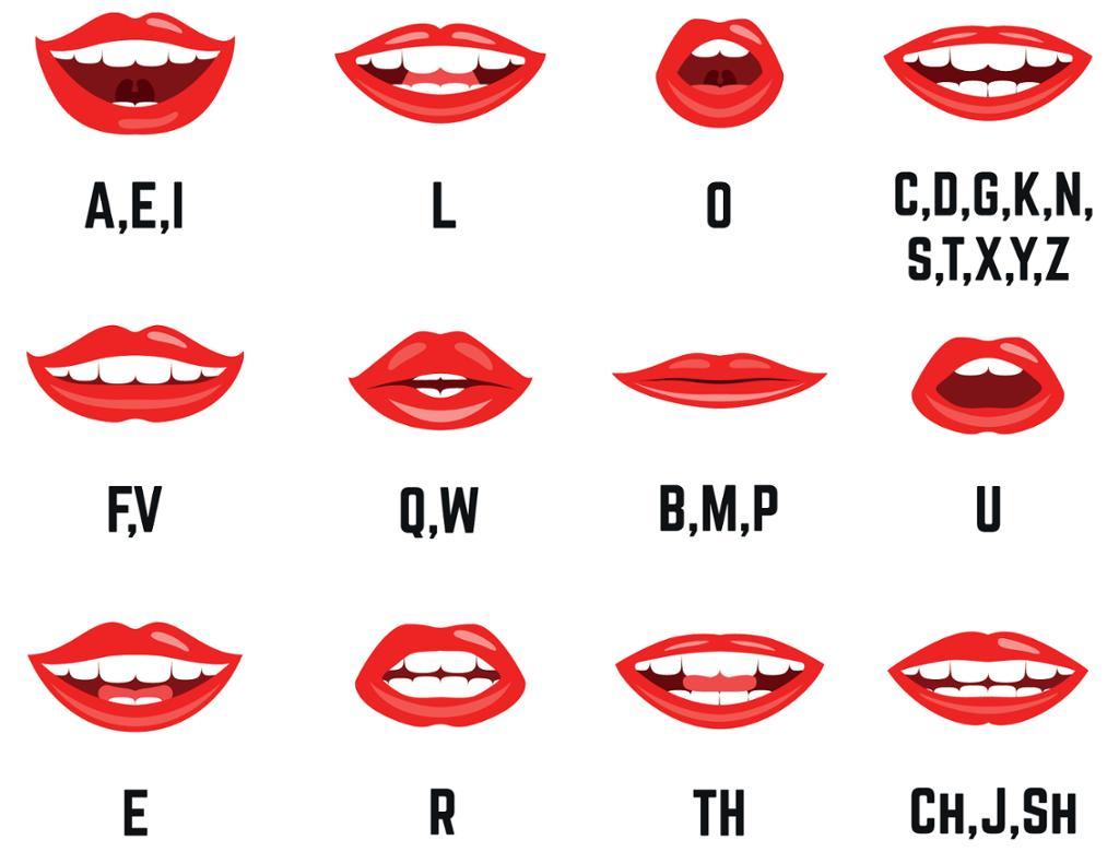 Lepper som former forskjellige språklyder. Illustrasjon.