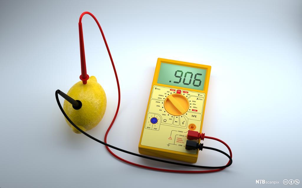 Sitron koblet til multimeter med ledninger. Foto.