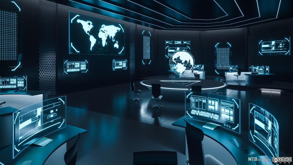 Skjermer i et kontrollrom med bilder fra hele verden. Foto.