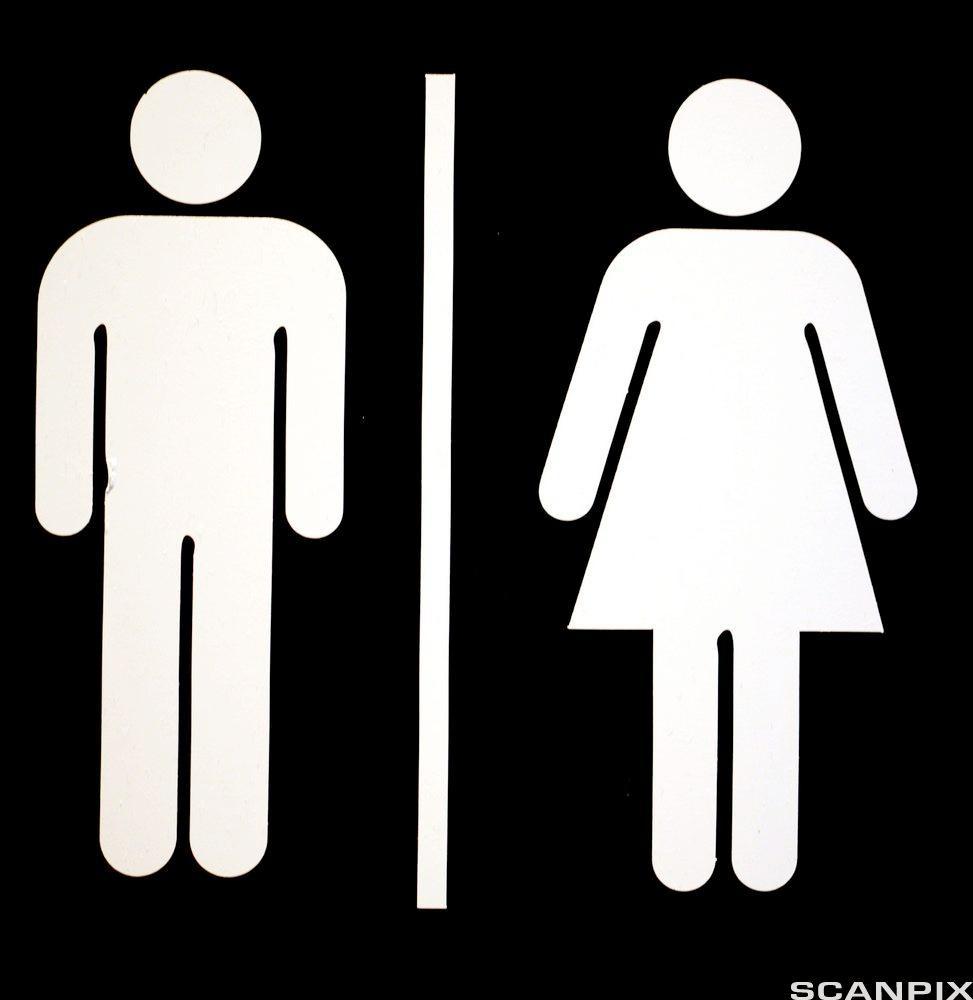 Ikon som viser siluett av en mann og en kvinne på svart bakgrunn. Illustrasjon.