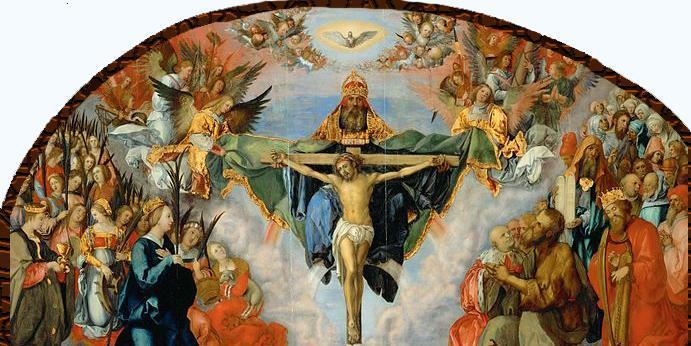 Tilbedelse av Gud, Jesus og Den hellige ånd. Maleri.
