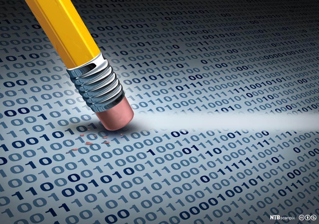 Blyant med viskelær som fjerner data og rydder digitalkode fra en harddisk. Foto.
