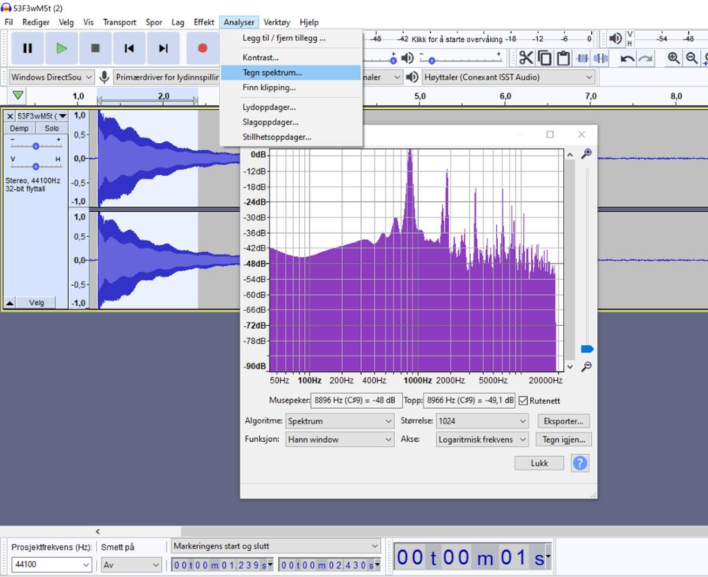 Skjermdump av analyse av lydspor i lydredigeringsprogrammet Audacity. Foto.