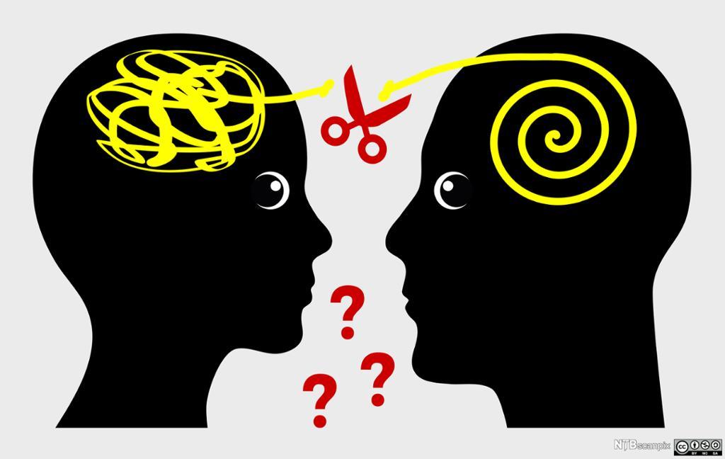 Ilustrasjon av misforstått kommunikasjon. Ilustrasjon.