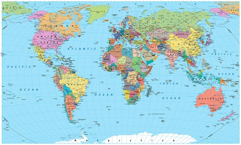 Verdenskart i farger med grenser, land, veier og byer. Foto.