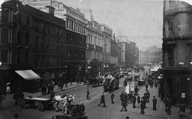 Jamaica Street i Glasgow på 1890-tallet. Foto.