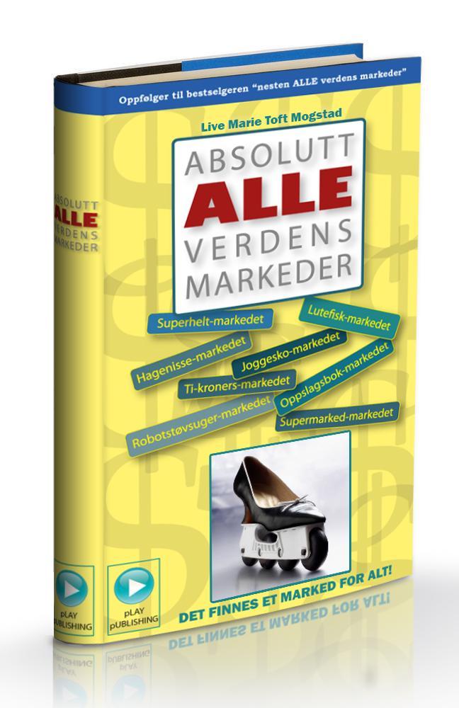 Den tenkte boka «Absolutt alle verdens markeder» av Live Marie Toft Mogstad. Illustrasjon.