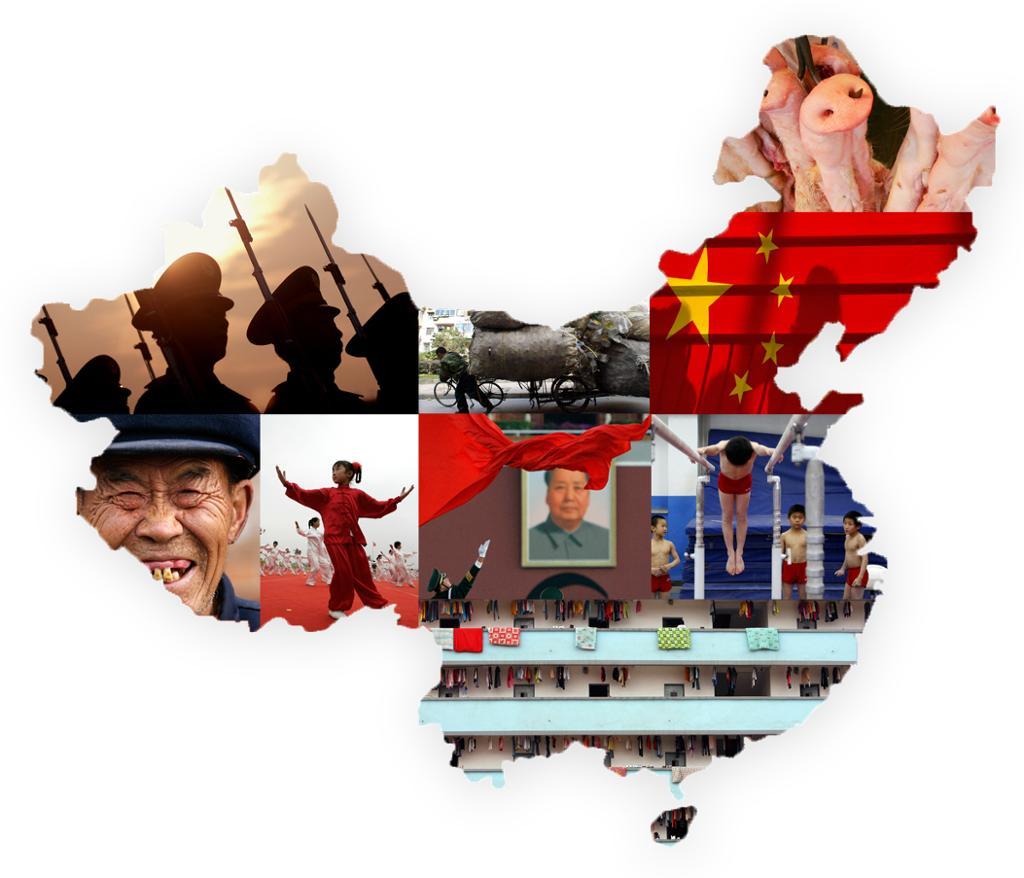 Bilder fra kina lagt inn i et kinakart. Kollasj.
