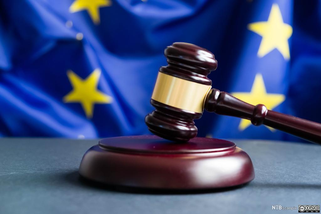 Bilde av lovhammer med EU flagg i bakgrunnen. Foto.