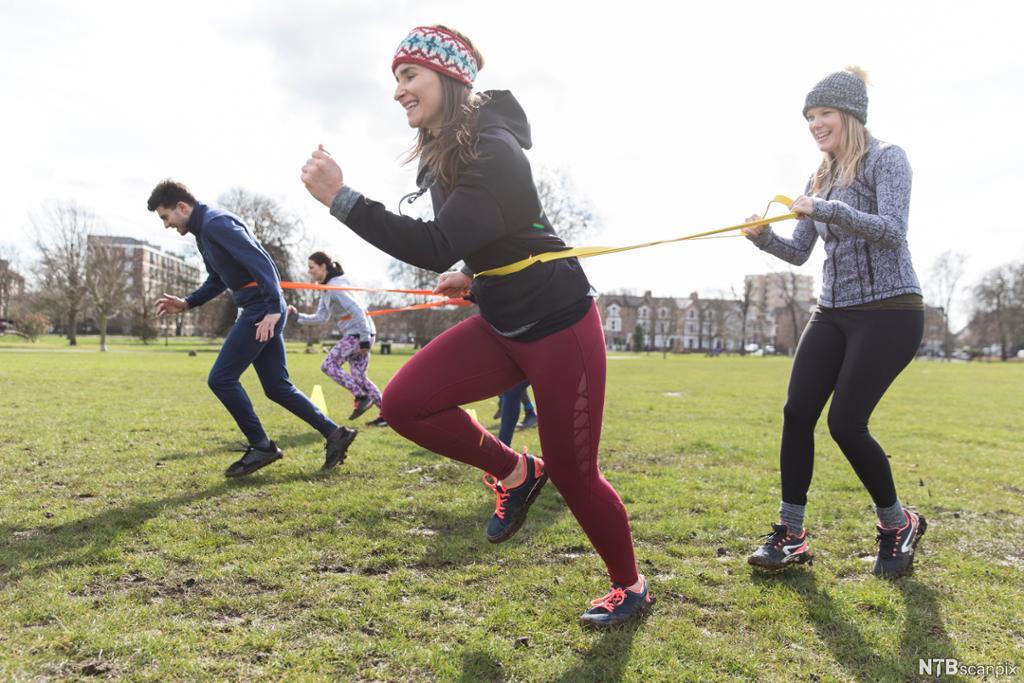 Glade, unge mennesker trener sammen på en gressplen. Foto.