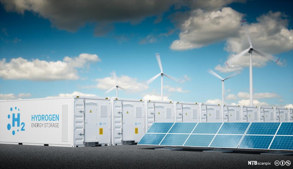 Sammenstilling av hydrogen, sol- og vindenergi. Foto.