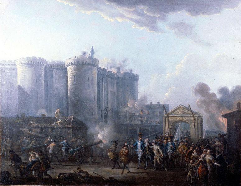 Arresteasjon av de Launay, leder for Bastille-fengselet, under stormingen av Bastillen, 14. juli 1789. Maleri.