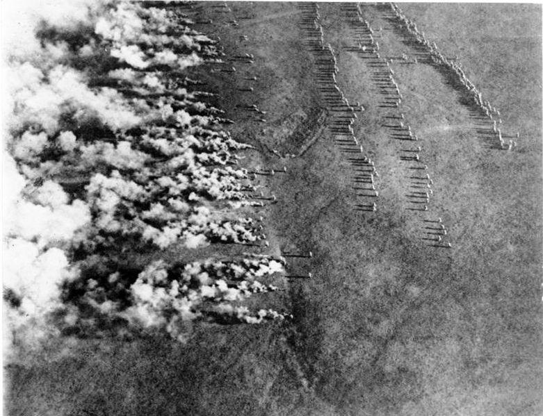 Tysk gassangrep på Østfronten under første verdenskrig. Foto.