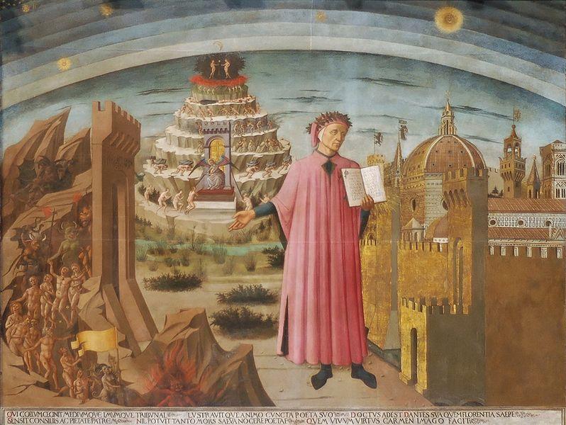 Bilde som viser dikteren Dante. I bakgrunnen helvete, skjærsild og paradis