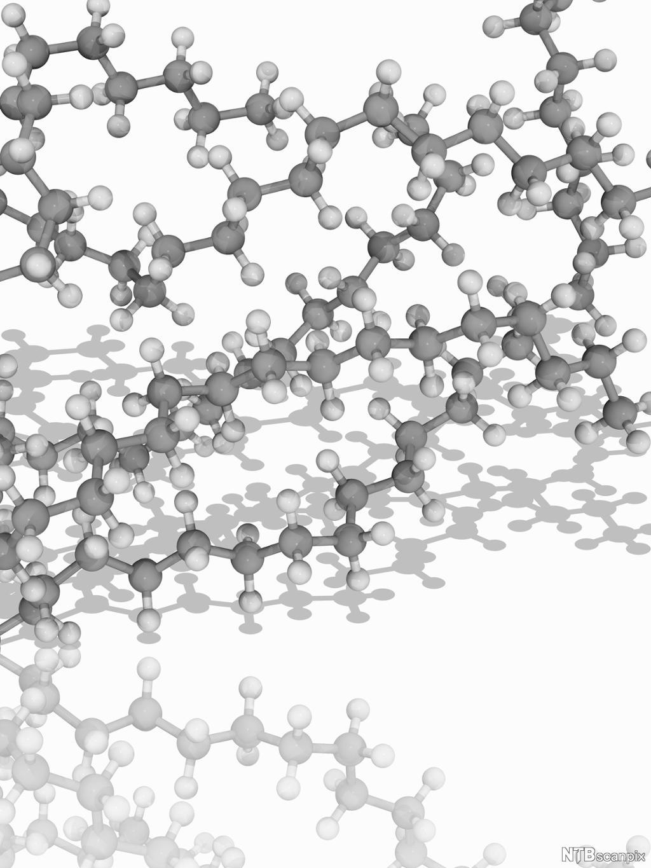 Molekylmodell av et langkjedet molekyl av polyeten. Polyeten, eller polyetylen, er en type plast som blant annet framstilles av gassen etan. Illustrasjon.