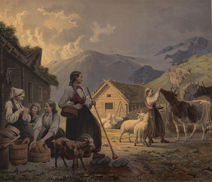 Livet på ei seter. Unge kvinner i bunad og dyr i samspill. Maleri.