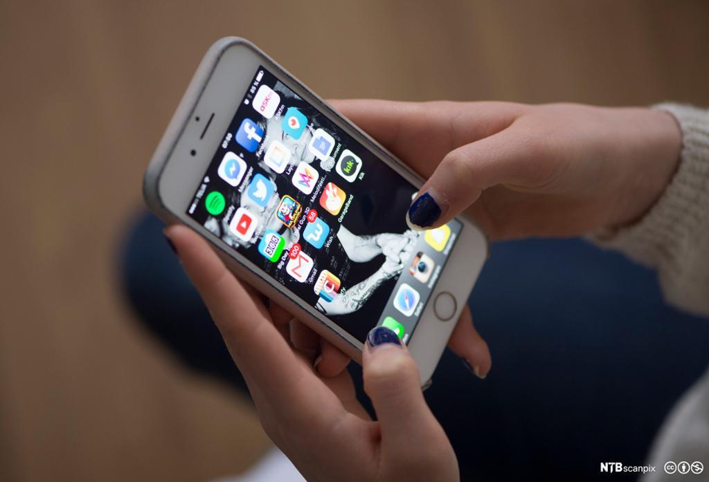 Telefonskjerm med apper. foto.