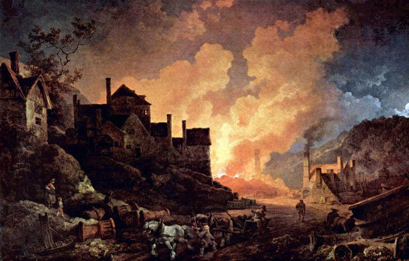 Coalbrookdale at night. Painting.