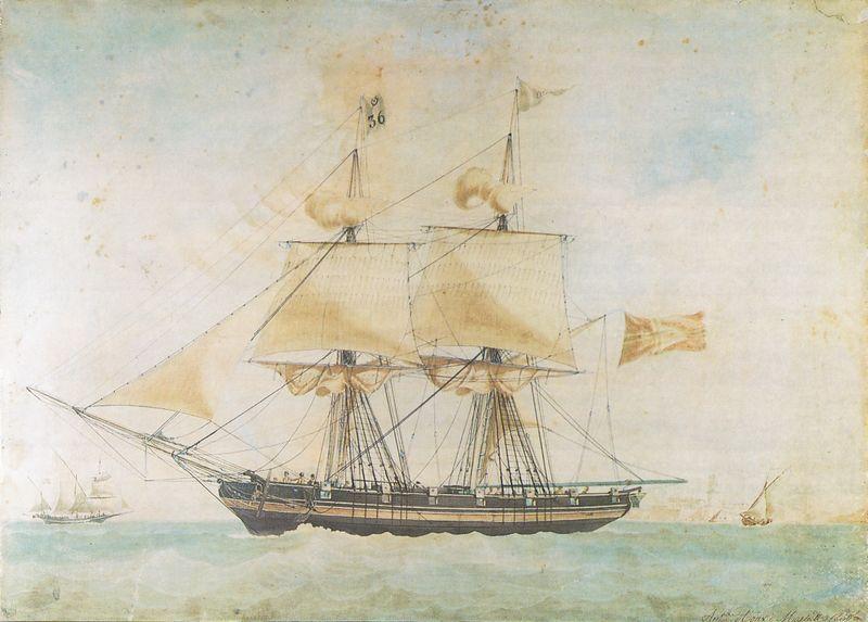 """Briggen """"Ellida"""" av Trondhjem på tur til Marseilles i juni 1830. Illustrasjon."""