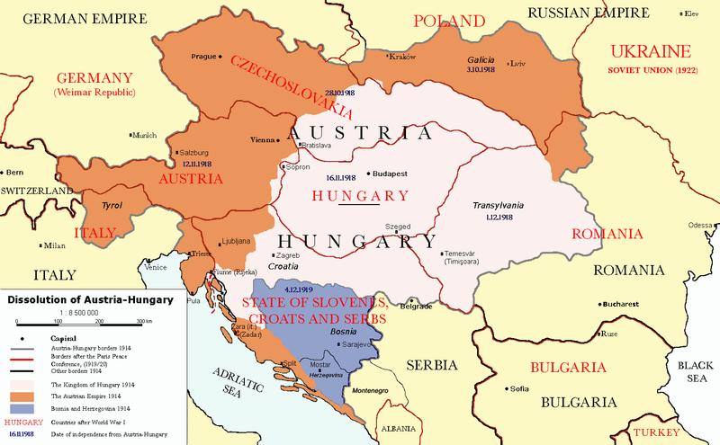 Kart som viser grensene til Østerrike-Ungarn i 1914, og hvordan de nye statene og grensene var etter Paris-freden i 1920. Kart.
