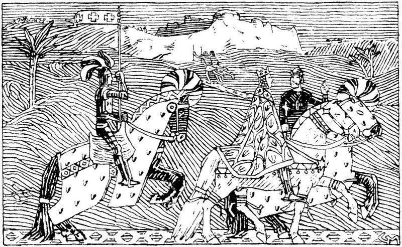 Sigurd og kong Baldvine til hest. Illustrasjon.