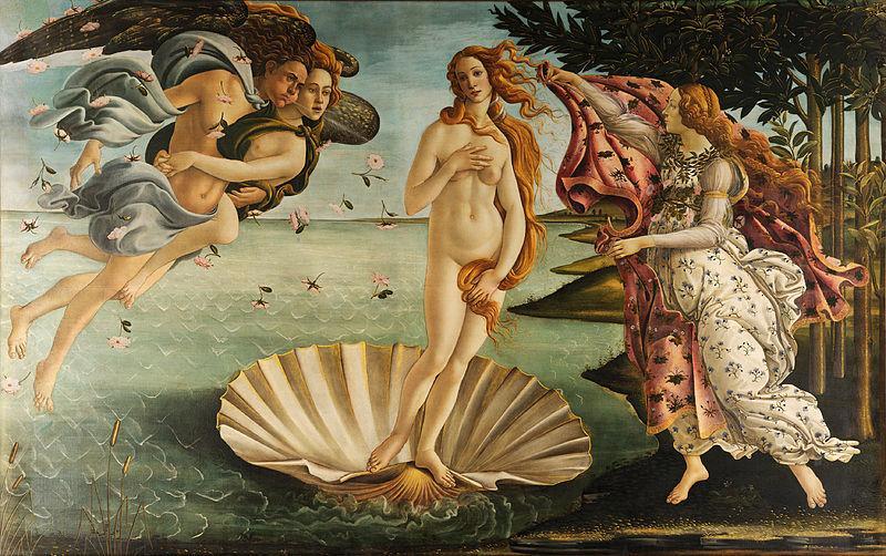Sandro Botticellis berømte maleri Nascita di Venere - Venus' fødsel. Viser gudinnen Venus stående på et skjell nylig kommet opp fra havet. Maleri.